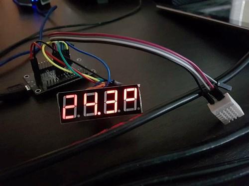 photo of temperature sensor and display